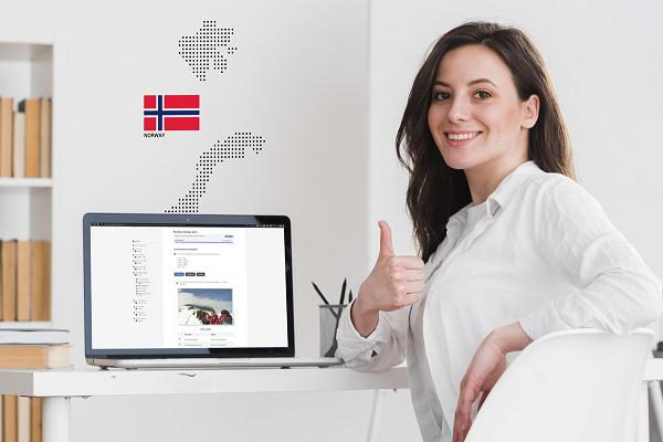 Woman taking Norwegian course